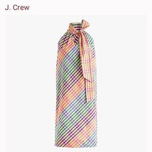 J. Crew Tie-Neck Dress in Rainbow Gingham